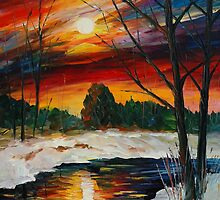 WINTER SUNSET, DECEMBER - LEONID AFREMOV by Leonid  Afremov