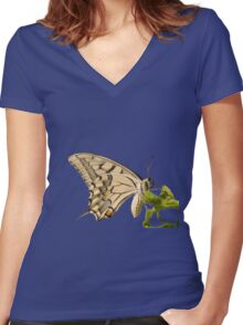 Swallowtail Butterfly Vector Isolated Women's Fitted V-Neck T-Shirt