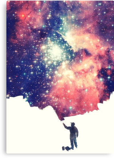 Painting the universe (Colorful Negative Space Art) by badbugs