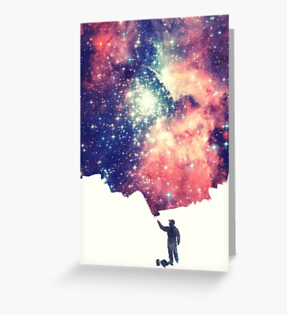 Painting the universe (Colorful Negative Space Art) Greeting Card