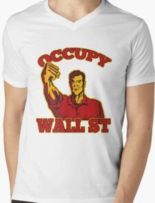 Occupy Wall Street American Worker Mens V-Neck T-Shirt