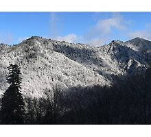 Mountain Top Covered In Snow Photographic Print