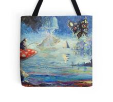 fishing for butterflies on lake agarica Tote Bag