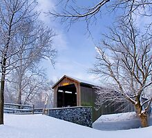 Covered Bridge In Winter by Mark Van Scyoc