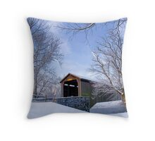 Covered Bridge In Winter Throw Pillow