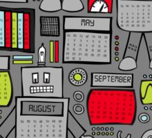 Retro Robots 2016 Calendar Sticker
