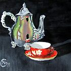 Teapot and Teacup by Kimberly Caldwell