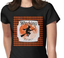The Witching Hour, Witch riding a broom Halloween illustration Womens Fitted T-Shirt