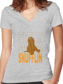 Every Day I'm Snufflin' Women's Fitted V-Neck T-Shirt