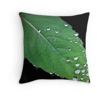 Rain drops on a leaf..Blood is thicker than water Throw Pillow