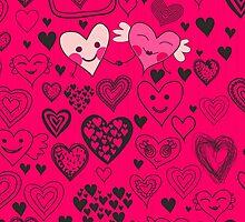 pink doodle hearts iphone case by Anastasiia Kucherenko