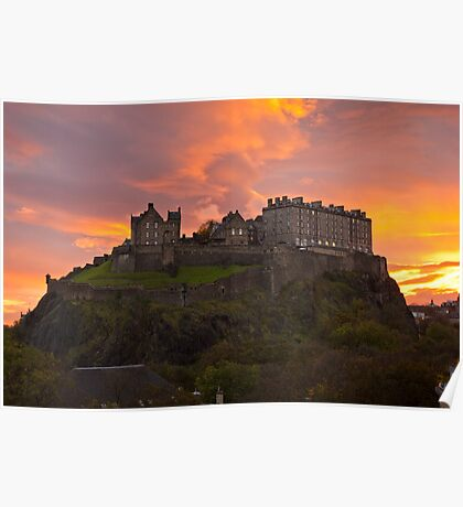 Sunrise over Edinburgh Castle Poster