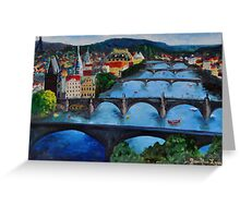 The View over Prague's Five Bridges Greeting Card