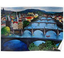 The View over Prague's Five Bridges Poster