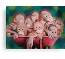 "Pastel and Charcoal Drawing Titled ""Orphans Of Palm Oil"" Canvas Print"