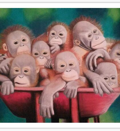 "Pastel and Charcoal Drawing Titled ""Orphans Of Palm Oil"" Sticker"