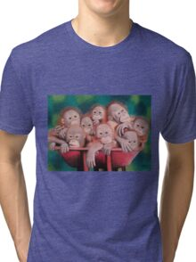 """Pastel and Charcoal Drawing Titled """"Orphans Of Palm Oil"""" Tri-blend T-Shirt"""