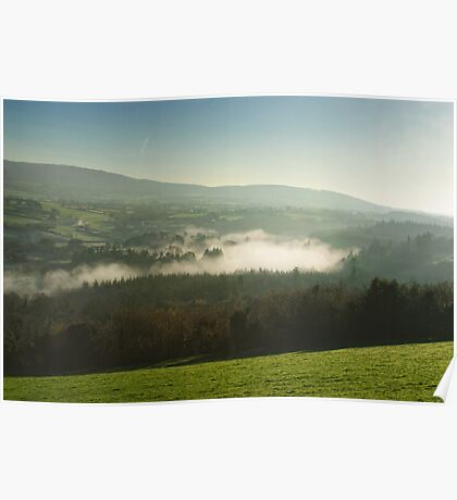 Lazy misty morning over the St Mullins, County Carlow, Ireland Poster