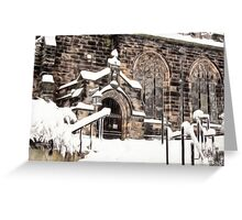 Ormskirk Parish Church During a Snowy Winter Greeting Card