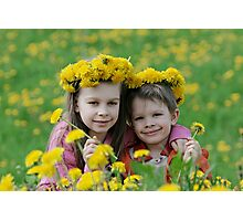 Brother and sister with dandelion garlands Photographic Print