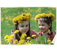 Brother and sister with dandelion garlands Poster
