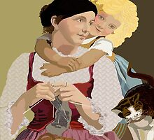 Mother and Daughter  Vintage Poster Art by kreativekate