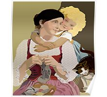 Mother and Daughter  Vintage Poster Art Poster