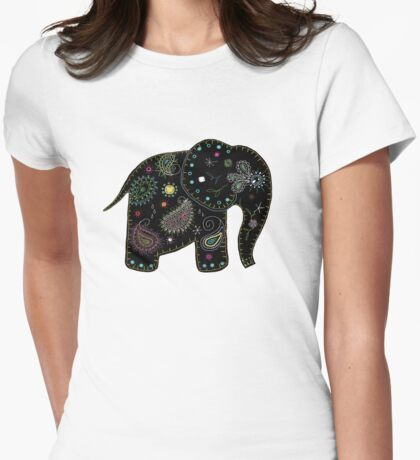 black embroidered elephant Womens Fitted T-Shirt