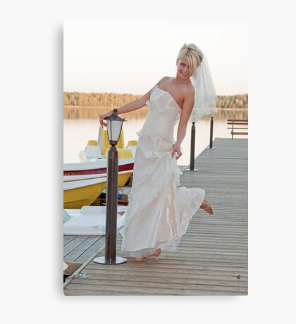 Bride on the lake Canvas Print