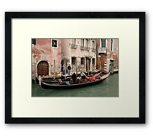Gondolas, Gondoliers and Buildings, Venice, Italy Framed Print