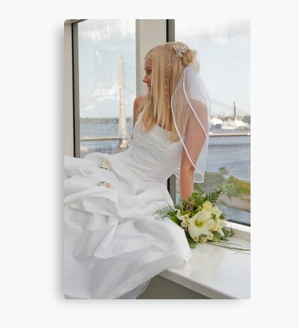 Bride on the window Canvas Print