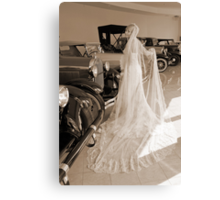 Bride And Antique Cars Canvas Print