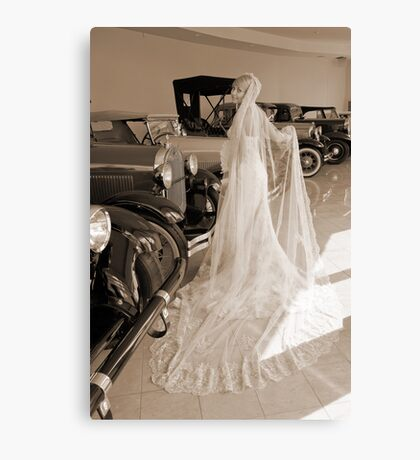 Bride And Antique Cars Canvas Print