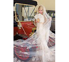 Bride And Antique Car Photographic Print