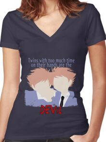 Twins with too much time on their hands Women's Fitted V-Neck T-Shirt