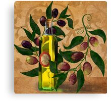 Olives, Italian Olive Oil kitchen art Canvas Print