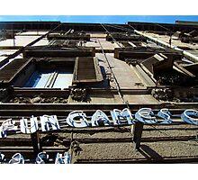 Fun & Games sign - Sardinia, Italy Photographic Print