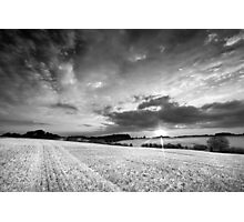 A Delicate Sky Plays with the Evening Harvest Sun BW Photographic Print