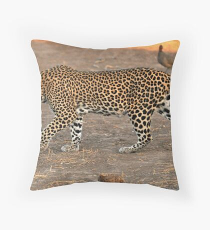 Stalking leopard - Mashatu, Botswana Throw Pillow