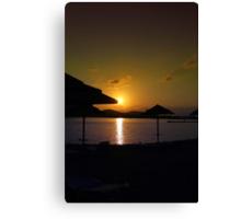 Beach Umbrellas at Sunrise  Canvas Print