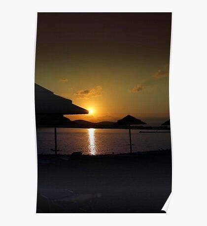 Beach Umbrellas at Sunrise  Poster