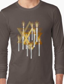 Nine White Candles and Star Long Sleeve T-Shirt