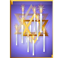 Nine White Candles and Star Photographic Print