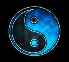 Blue Yin Yang Symbol - iPhone & iPod  Cases  by Leah McNeir