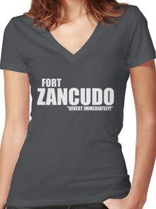 "Fort Zancudo ""Divert Immediately!"" Women's Fitted V-Neck T-Shirt"