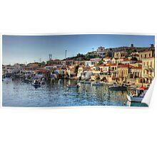 Chalki Harbour Panorama Poster