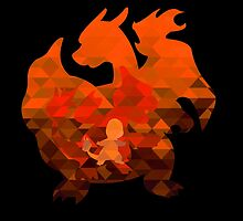 Charmander - Charmeleon - Charizard - Polygon by Trending4Life