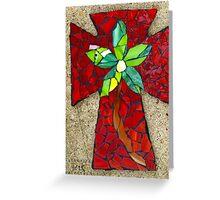 Red Mosaic Cross Greeting Card