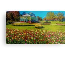 Oil on Canvas - Springtime Tulips at the Conservatory Gardens Metal Print