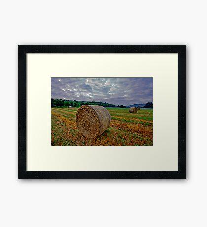 Hay Bails at Sunrise Framed Print